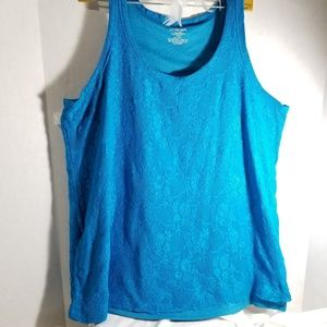 Lane Bryant Tops - Lane Bryant Blue Lace Lined Tank Top Womens 18/20
